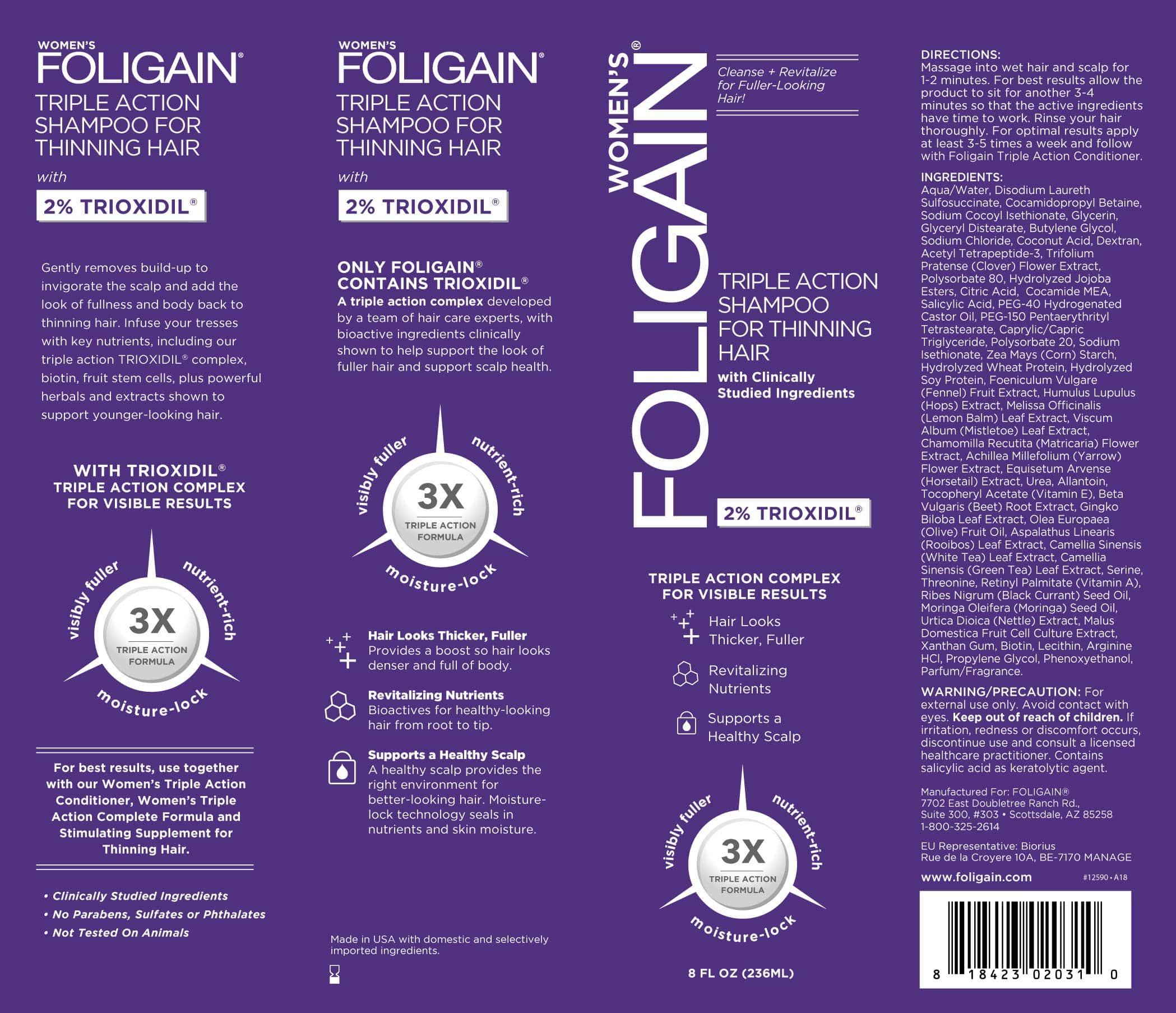Šampón proti padaniu vlasov pre ženy Foligain - obal